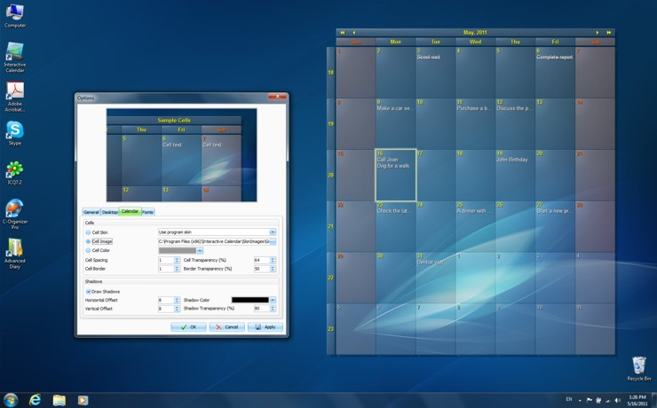 Interactive Calendar Screen shot